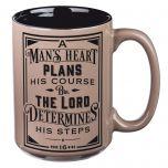 Mug:Ceramic-Man's Heart Plans  Brown