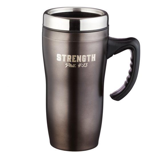 Strength Stainless Steel Travel Mug - Philippians 4:13