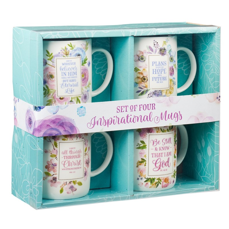 Mug: Ceramic-Set of 4, Floral Inspirations