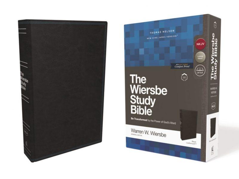 NKJV Wiersbe Study Bible, Leathersoft, Black, Red Letter, Comfort Print