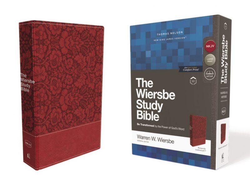 NKJV Wiersbe Study Bible, Leathersoft, Burgundy, Red Letter, Comfort Print