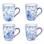 Mug:Ceramic-SET/4, Blue Birds, MUGS18