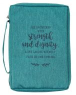 Bible Cover-Canvas Strength And Dignity, LARGE, Teal,  BBL670