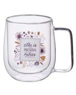 Mug: DoubleWalled Glass-She is More Precious than Rubies, MUG605