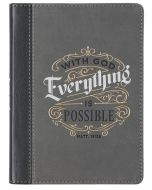 Journal: FauxLeather HandySize-With God Everything is Possible, Matthew 19:26 Gray  JL467