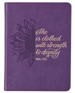 Journal: FauxLeather HandySize-Strength & Dignity, Proverbs 31:25, Purple Sunflower JL442