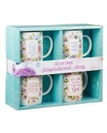Mug:Ceramic-Set of 4, Floral Inspirations