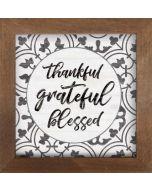 Framed Art/Wood-Thankful Grateful Bless