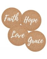 Faith Hope Love Grace, Cork Coaster Set