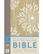 NIV Thinline Bible Linen-HC, Tan/White