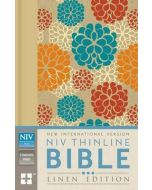 NIV Thinline Bible Linen-HC, Tan/Blue/Red