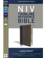 NIV Thinline Reference Bible, Large-Print, Leathersoft, Gray, Comfort Print