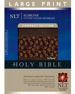 NLT Slimline Center Column Reference Bible, Large Print Compact (LeatherLike, Brown & Floral)