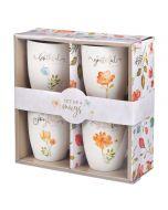 Mug Ceramic: Set of 4, Grateful and Joyful