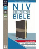 NIV Thinline Bible Large Print, Leathersoft, Brown and Tan