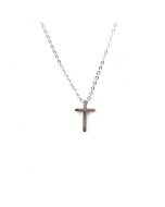 Necklace with Mini Cross, White Gold