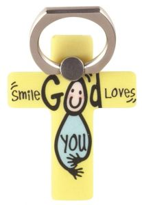 Phone Ring Holder-Smile God Loves You, Yellow, PHM-101