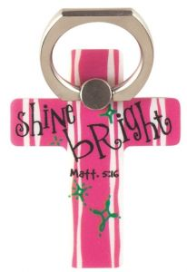 Phone Ring Holder-Shine Bright, Pink and White Stripes, PHM-102