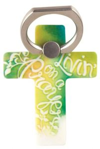 Phone Ring Holder-Livin' On A Prayer, Yellow and Green, PHM-103