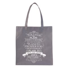 Tote Bag:For I Know The Plans, Grey TOT067