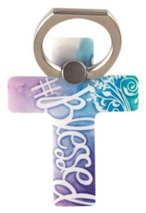 Phone Ring Holder-Blessed, Purple and Blue, PHM-105