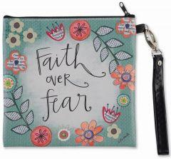 Zippered Bag: Square Wristlet-Faith Over Fear, 83883
