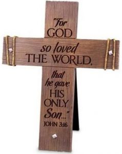 Cross-CastStone: Rugged, Large, For God So Loved The World, 11448