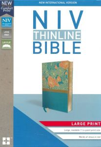 NIV, Thinline Bible, Large Print, Leathersoft, Blue, Red Letter Edition, Comfort Print