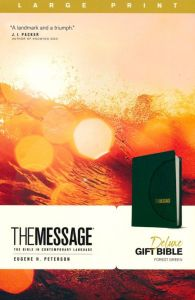 Message Deluxe Gift Bible Large Print LeatherLook-Green