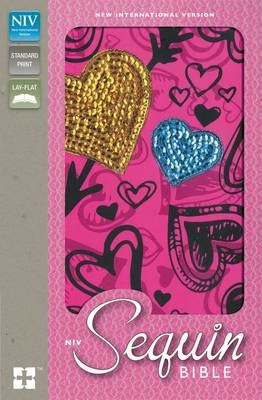 NIV Sequin Bible Hot Pink Hearts