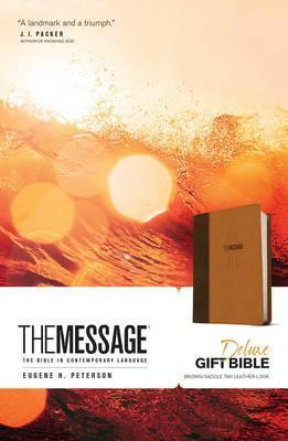 Message Deluxe Gift Bible, The (Brown/Saddle Tan Leather-Look)