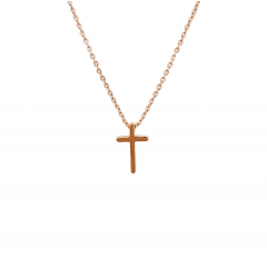 Necklace with Mini Cross, Rose Gold