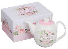Tea Pot Ceramic: He Gives Me New Strength, TEA007