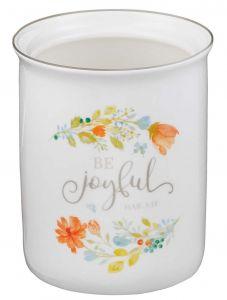 Utensil Holder Ceramic: Be Joyful,  UTH003