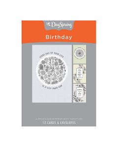 Boxed Cards-Birthday Black & White Botanicals, J0384