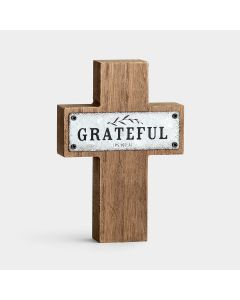 Cross (Wood/Metal):Grateful   Ps107:1