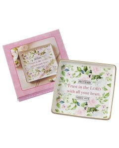 Trinket Tray/Glass-Trust In /Lord,Square, GLT022