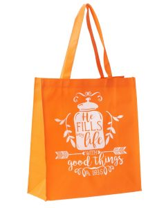 Tote Bag:He Fills My Life, Orange TOT092