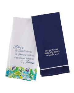Tea Towel Set/2-Our Daily Bread   Blue