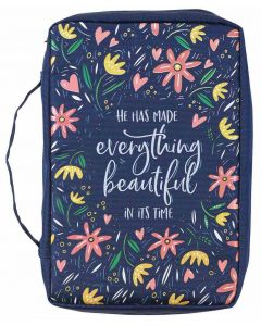 Bible Cover-Canvas He Has Made Everything Beautiful, Ecclesiastes 3:11, Large, Navy Floral , BBL696