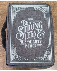 Bible Cover-Canvas, Be Strong in the LORD, Ephesians 6:10, Medium, Gray  BBM698