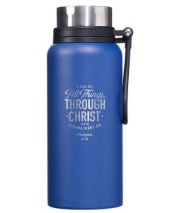 WaterBottle: Stainless Steel-I Can Do All Things, Philippians 4:13, Blue, FLS056