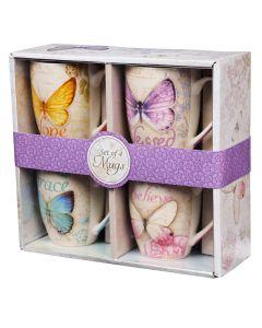 Mug: Ceramic SET of 4, Butterfly Blessings, MUGS25