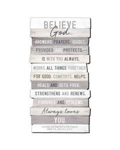 Plaque-Stacked Wood, Believe II, Medium, 45039