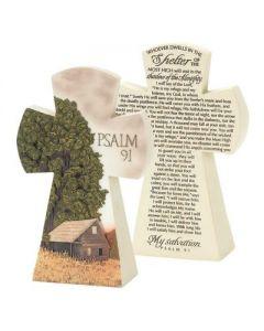TableTop Cross Resin- Psalm 91