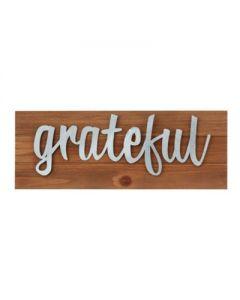 Plaque (Wood/Metal)-Grateful , 10387