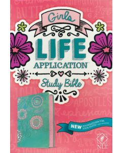 NLT Girls Life Application Study Bible, LeatherLike, Teal/Pink Flowers