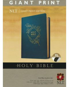 NLT Giant-Print Holy Bible, Soft Leather-Look, Teal Blue (Indexed)
