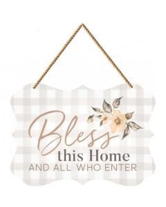 String Sign:Bless This Home/All Who Enter