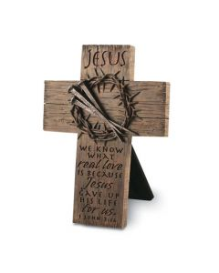 Cross-CastStone:Jesus Crown of Thorns & Nails